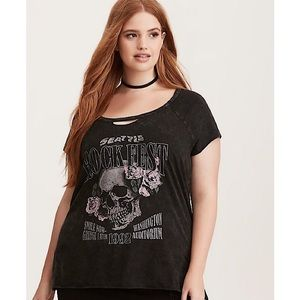 Torrid Grunge Graphic Tee with Cutouts